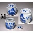 """Коллекционная посуда для кукольного домика - горшочек в китайском стиле """"Blue Willow"""""""