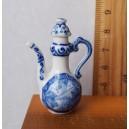 Фарфоровая миниатюра - чайник в этническом стиле (синий с белым)